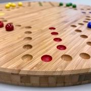 Bordspellen-Keezen-halma-doggen-spelbord-bamboe-glazen-knikkers-Goeters