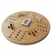 Rond-spelbord-van-bamboe-met-glazen-knikkers-Keezen-Goeters
