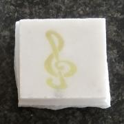 Breeksteentje marmer met muziekteken Goeters