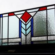 Glas-in-lood-raam-paneel-40x80cm-art-deco-roodblauwl.blauw-helder-Goeters