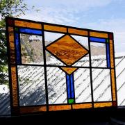 Glas-in-lood-raampaneel-40x60-amsterdamse-stijl-bruinblauwheldergroen-goeters
