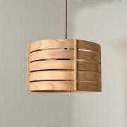 Hanglamp van hout gebogen ringen van esdoornhout.