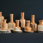 Houten kandelaars van bijzondere Nederlandse houtsoorten
