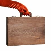 Houten koffer klein A4 noten Goeters
