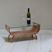 Salontafel gebogen hout met handvatten bij Goeters