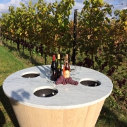 Wine tasting unit wood, ceramics and natural stone by Goeters